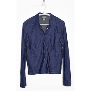 Banana Republic Navy Silk-Blend Striped Blouse